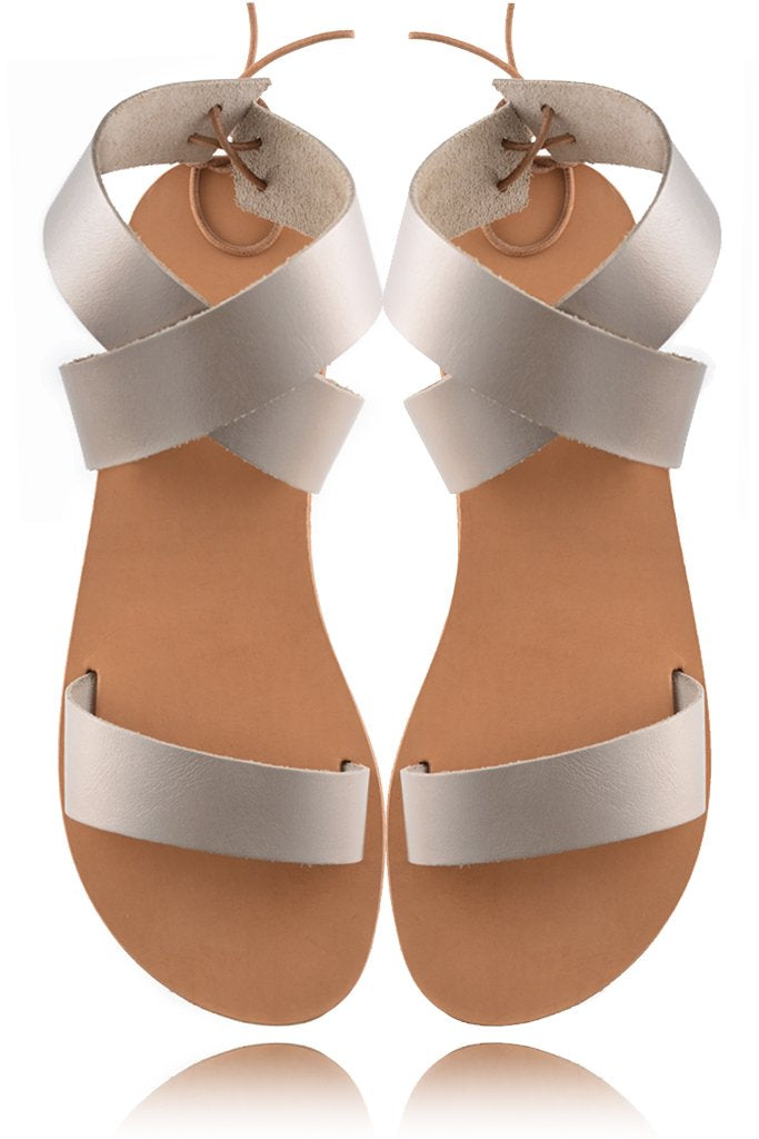 ELIA SANDALS | AGATHE Platinum Gold Leather Sandals