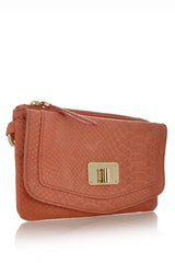 ELLIOTT LUCCA CORDOBA Coral Leather Clutch