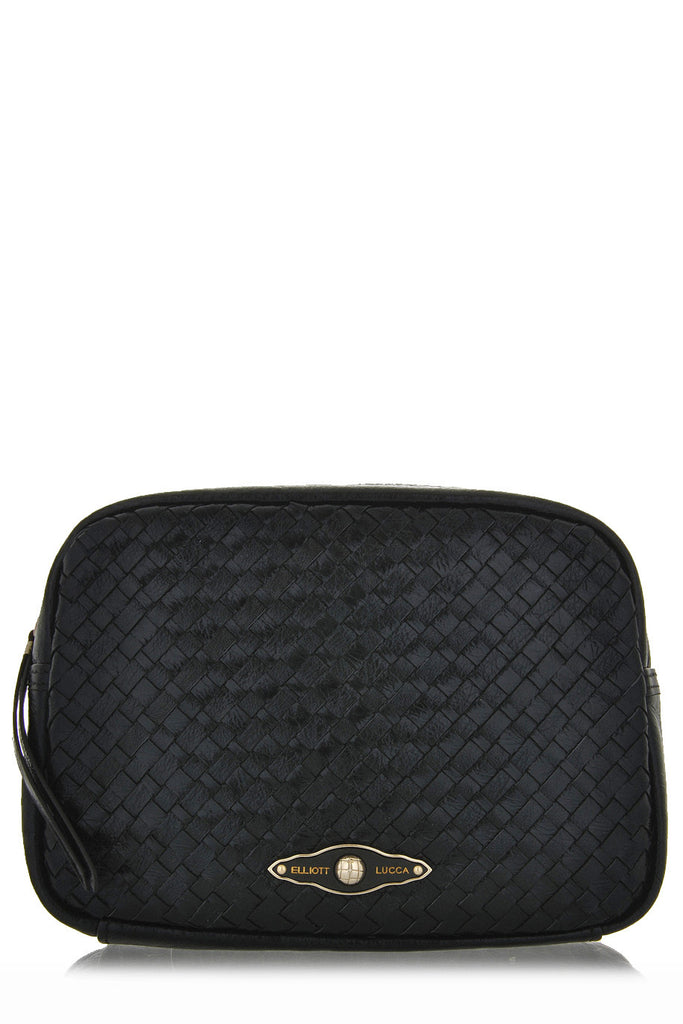 ELLIOTT LUCCA Leather Woman Clutch Bags - MILLANA Black Onyx Leather Clutch Bag