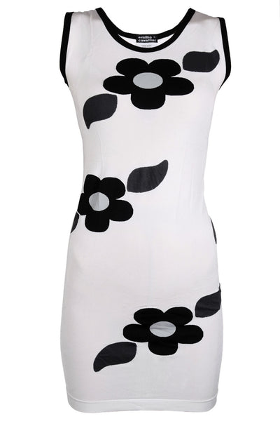 EMILIO CAVALLINI ALLINA Black White Floral Dress
