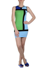 EMILIO CAVALLINI ANALIESE Color Block Dress