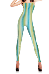 EMILIO CAVALLINI Green Waves Print Leotard