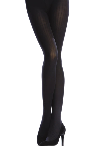 EMILIO CAVALLINI OPAQUE 3 DIMENSIONS RIBBED Tights Brown Wood