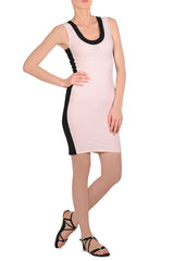 EMILIO CAVALLINI PINK BLACK Stripes Dress