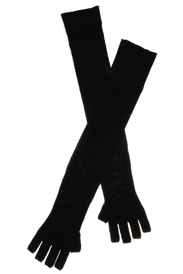 ENZA COSTA CASHMERE Long Fingerless Black Wool Women Gloves