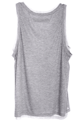 ENZA COSTA DOUBLED Grey Tank