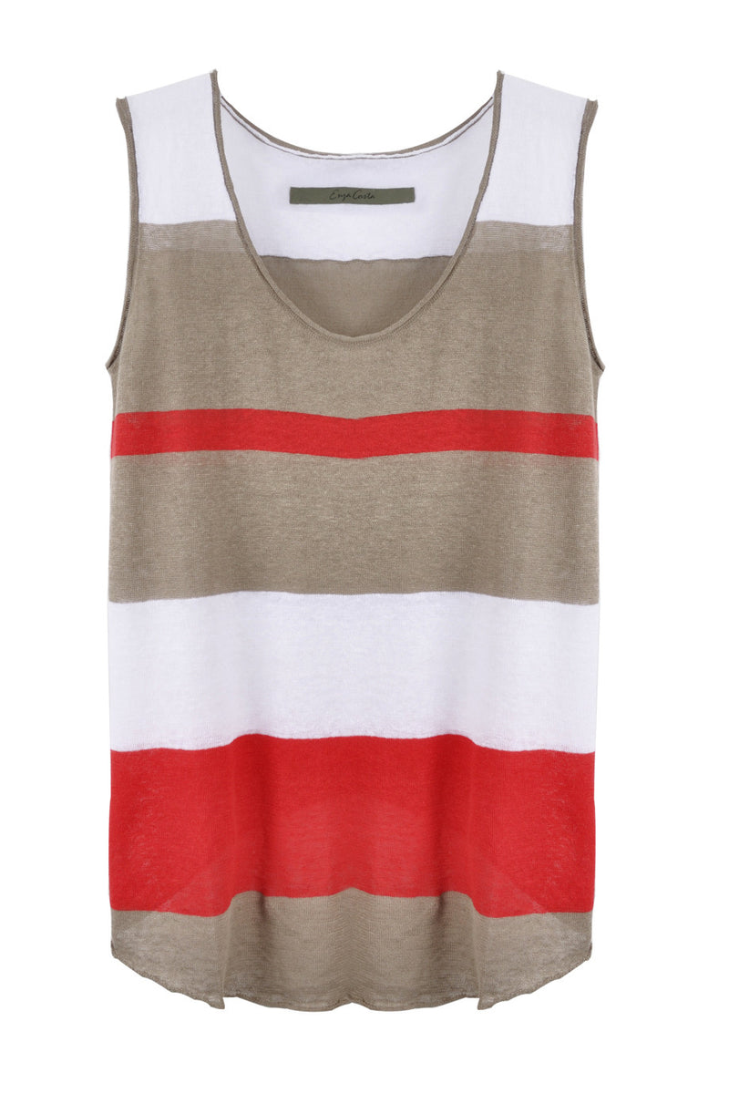 ENZA COSTA LINEN KNIT Multistripe Top