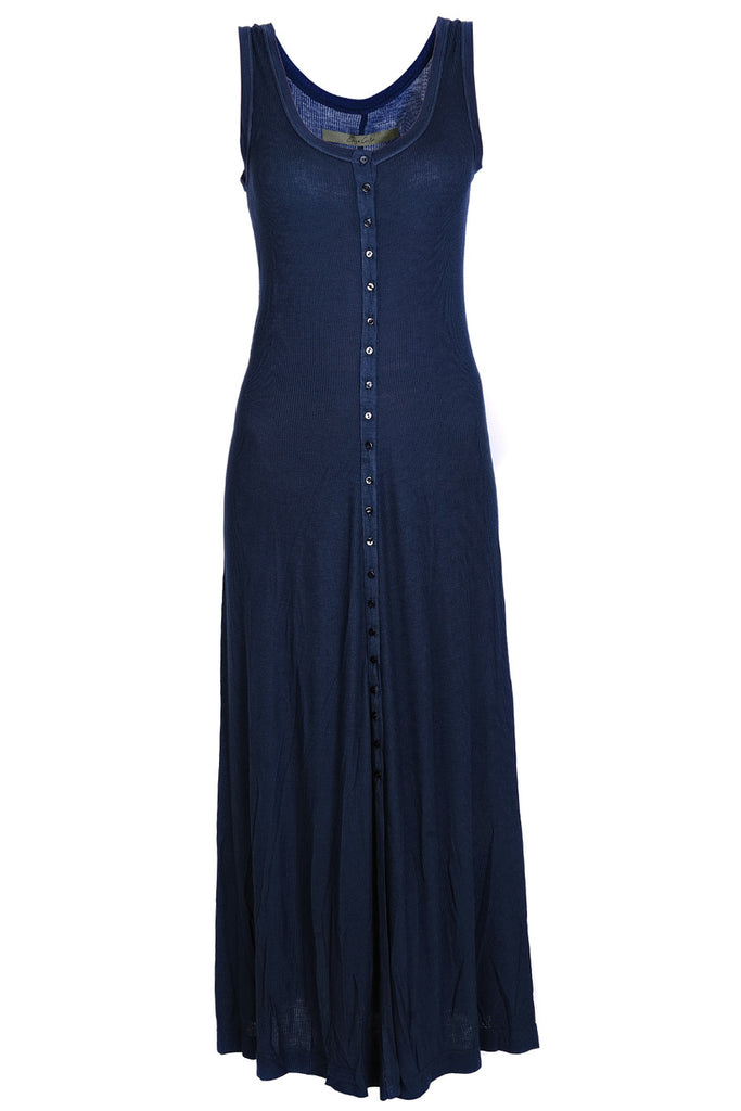 ENZA COSTA SILK BUTTON Blue Tank Dress