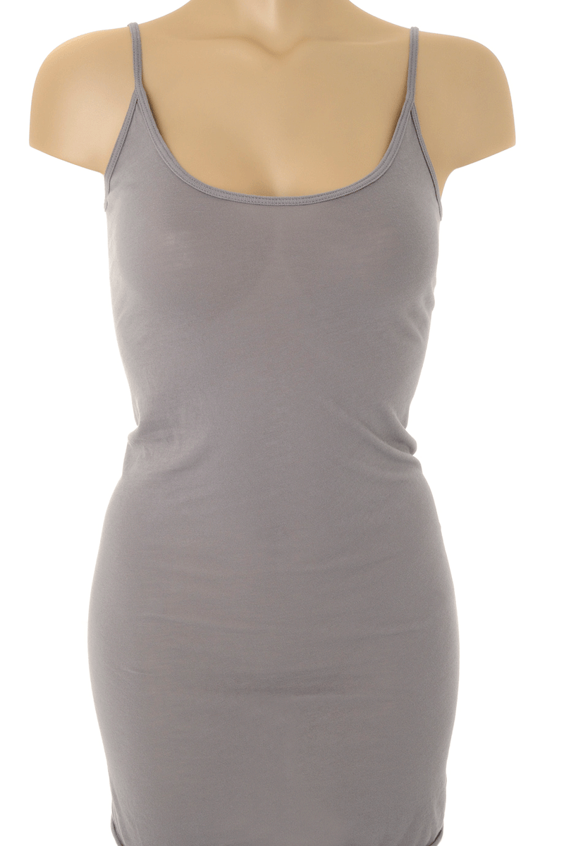 ENZA COSTA TISSUE Grey Jersey Tunic Tank
