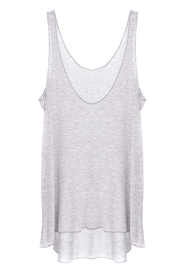 ENZA COSTA VISCOSE Light Grey Loose Tank