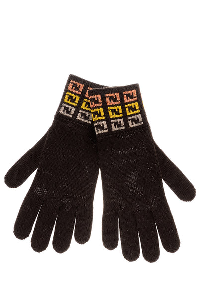 FENDI FF Brown Wool Women Gloves