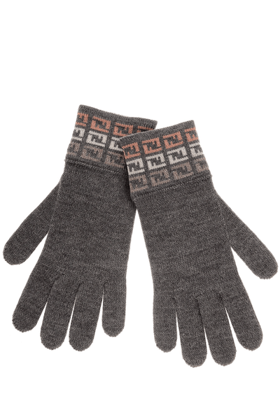 FENDI FF DEGRADE Grey Rose Wool Women Gloves