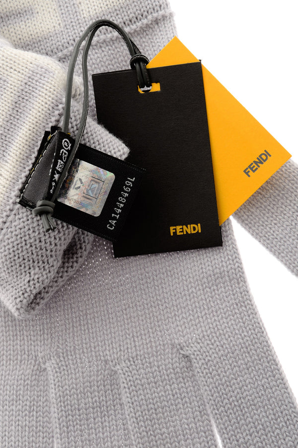 FENDI FF Pearl Grey Wool Women Gloves