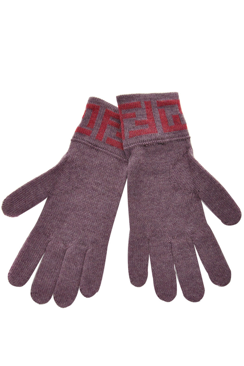 FENDI FF Purple Pink Wool Women Gloves