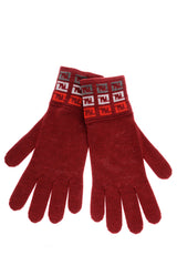 FENDI FF Wine Red Wool Women Gloves