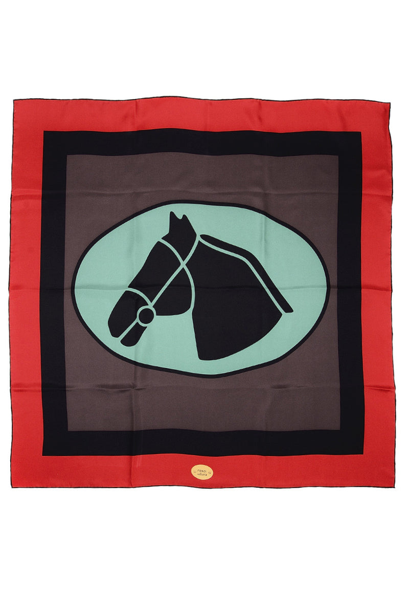 FENDI HORSE WARHOL Selleria Silk Printed Woman Scarf