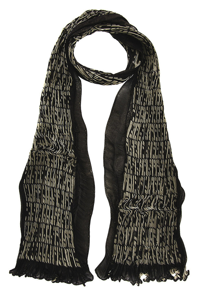 FENDI LAME Woven Grey Silk Oblong Woman Scarf