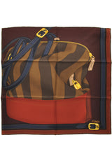 FENDI TWO BAGS Bordeaux Silk Printed Woman Scarf
