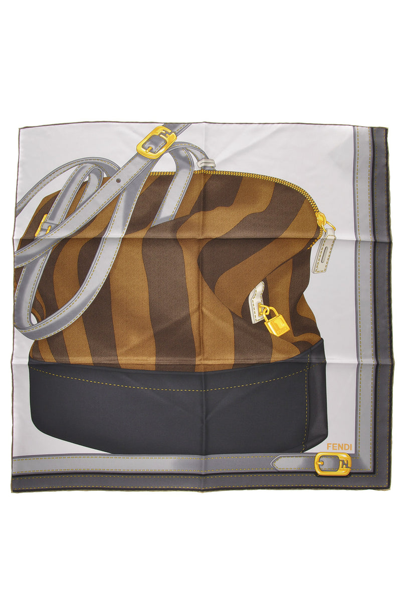 FENDI TWO BAGS Grey Silk Printed Woman Scarf