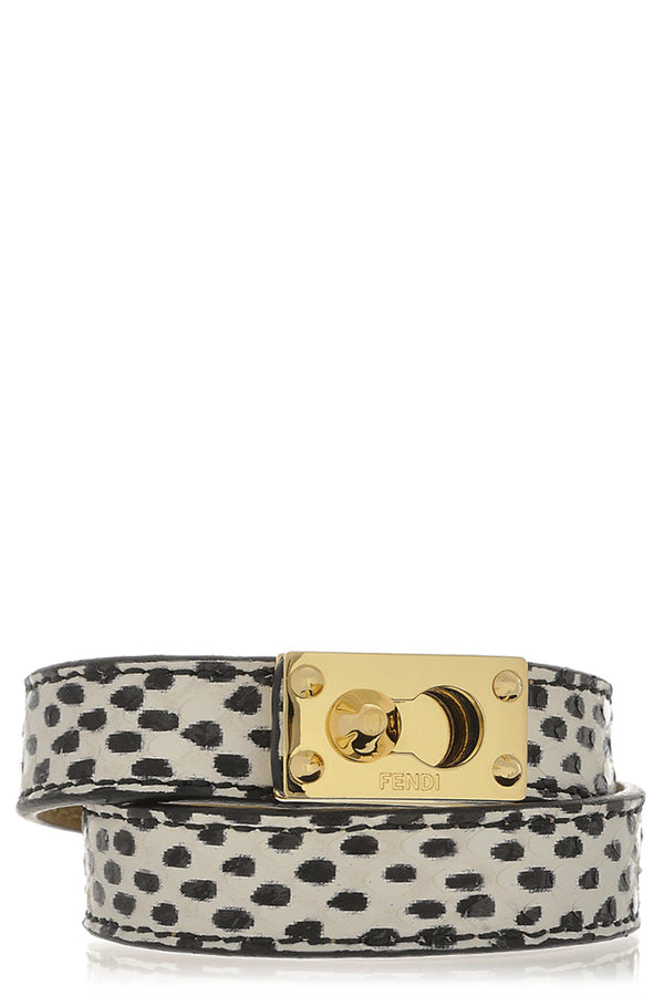 FENDI GOLDMINE Black and White Wrap Bracelet