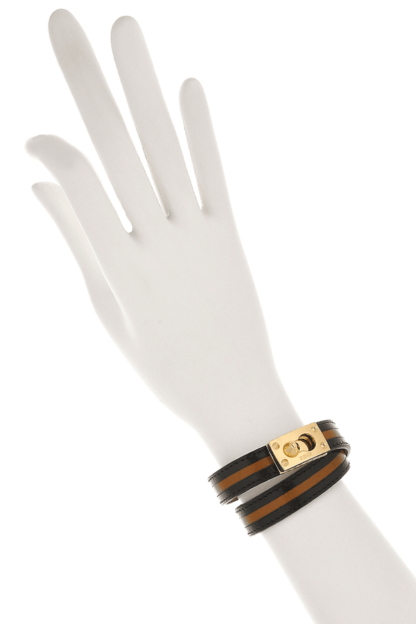 FENDI GOLDMINE Regimental Leather Bracelet