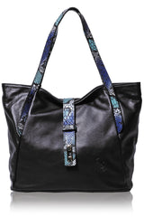 FERCHI BASILISK Black Leather Woman Tote Bag