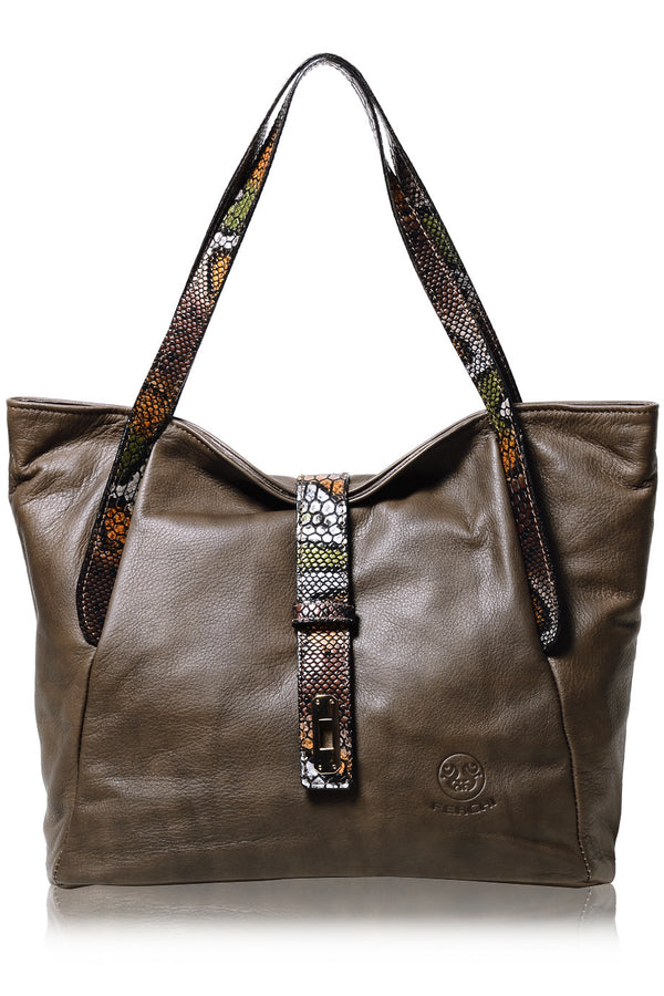 FERCHI BASILISK Taupe Leather Woman Tote Bag