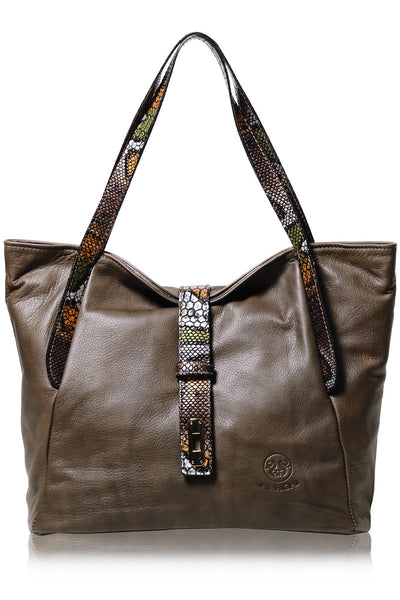 BASILISK Taupe Leather Woman Tote Bag
