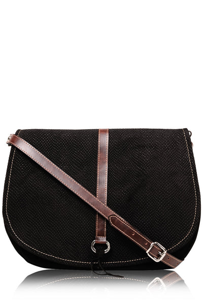 LEIA Black Suede Shoulder Bag