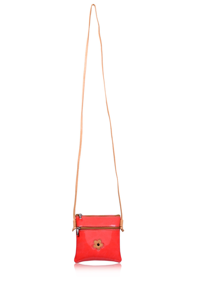 FERCHI MINI DAISY Coral Patent Crossbody Bag