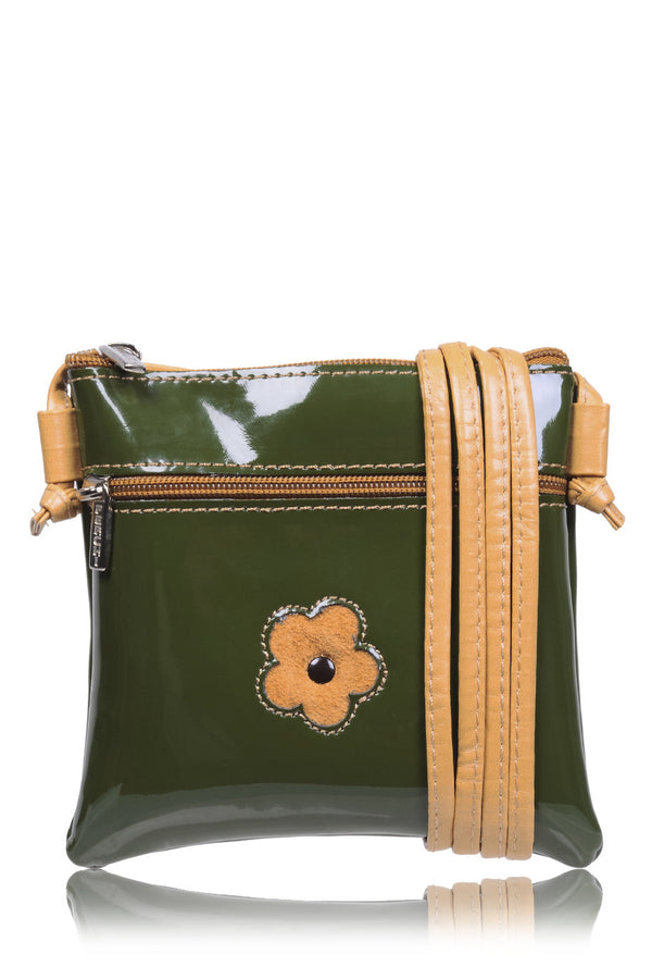FERCHI MINI DAISY Olive Patent Crossbody Bag