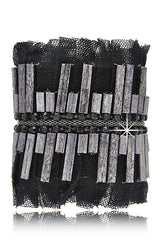 FIONA PAXTON SARA Silver Leather Pleated Cuff