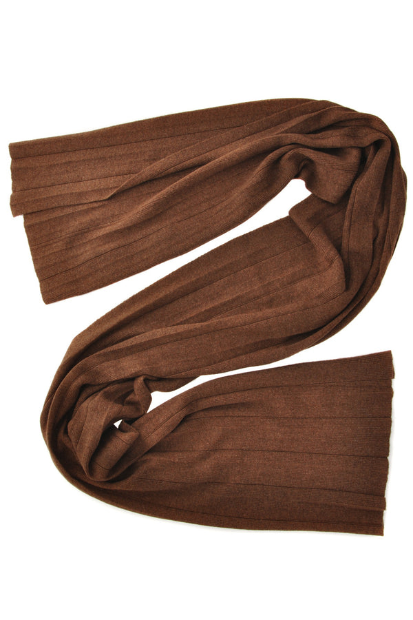 FOGAL - 484 TEMPTATION Pleated Chestnut Wool Woman Scarf