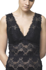 FOGAL - 853 ROMANTIC V-Decollete Black Lace Top Women Apparel Blouses