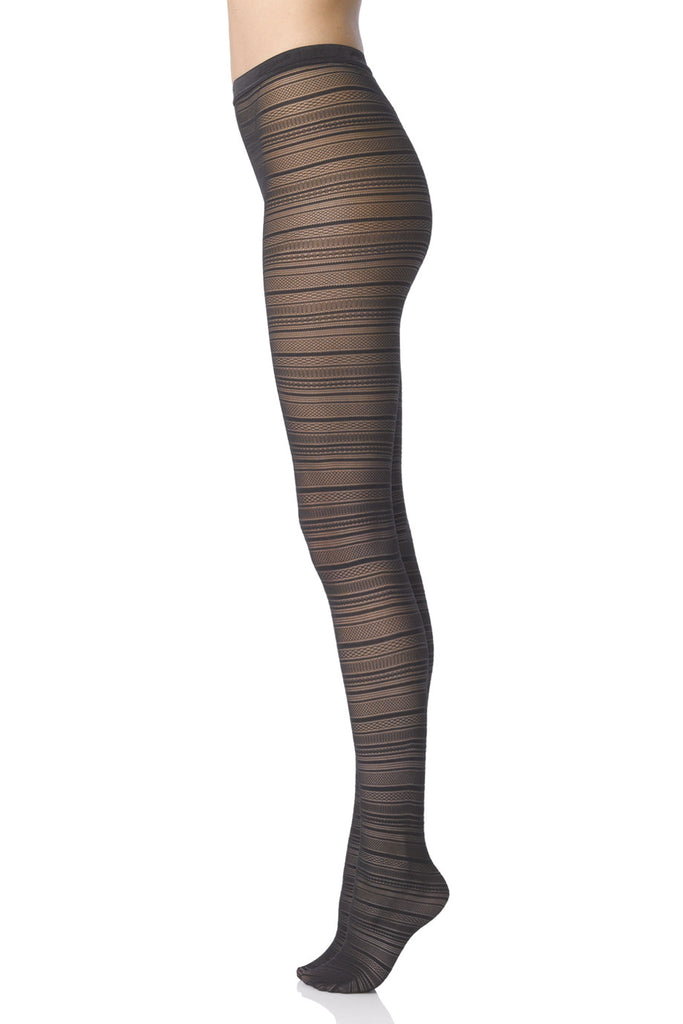 FOGAL 113 RENDEZ-VOUZ Knitted Lace Tights 210 Noir