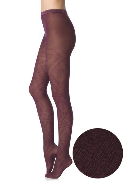 FOGAL 114 CHIC Diagonal Tights 166 Burgundy