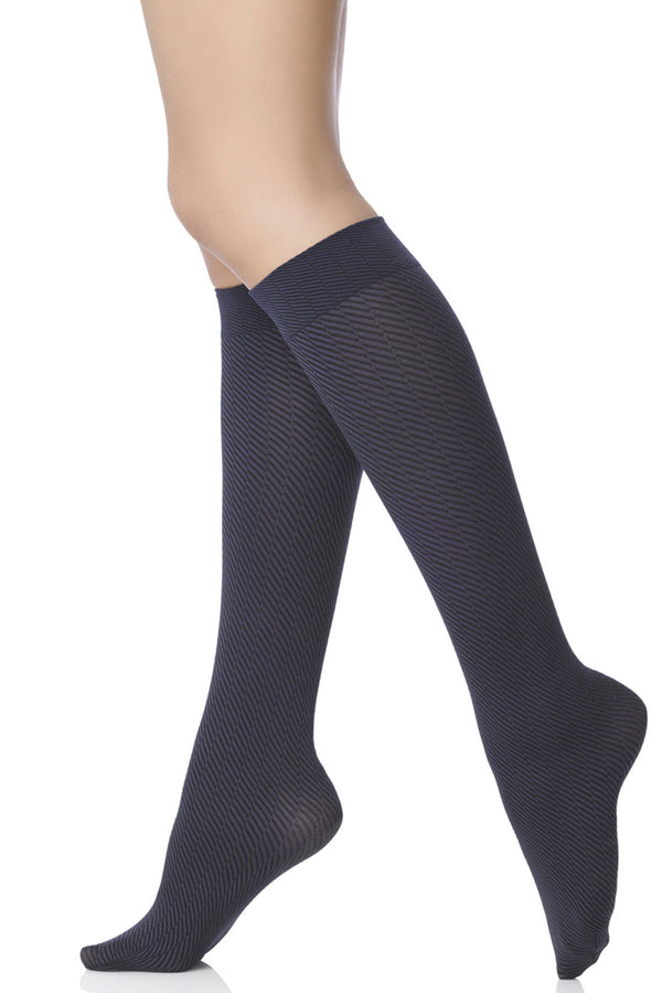 FOGAL 387 FUN Chevron Knee Highs 614 Marine