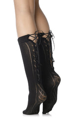 FOGAL 399 MAGIC Black Lace Knee High Socks