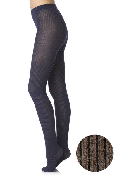 498 COTTON RIB 113 Taupe Tights