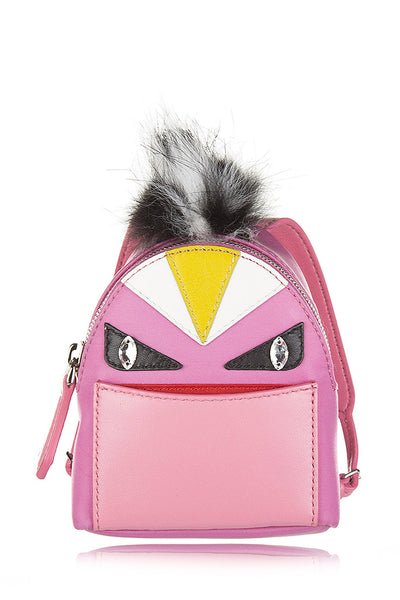 FENDI BUGS Pink Leather Keychain Backpack