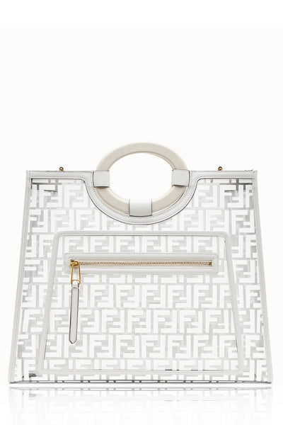 FENDI RUNAWAY SHOPPER White Shopping Bag