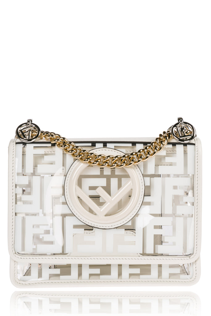 FENDI KAN I White Leather TPU Mini Bag 8BT286A7T5F0QVL