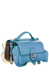 FENDI DOPPIA Blue Purple Leather Micro Baguette
