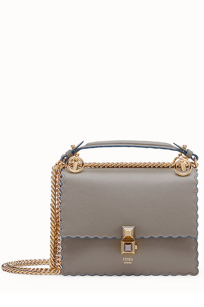 FENDI KAN I Grey Leather Mini Shoulder Bag