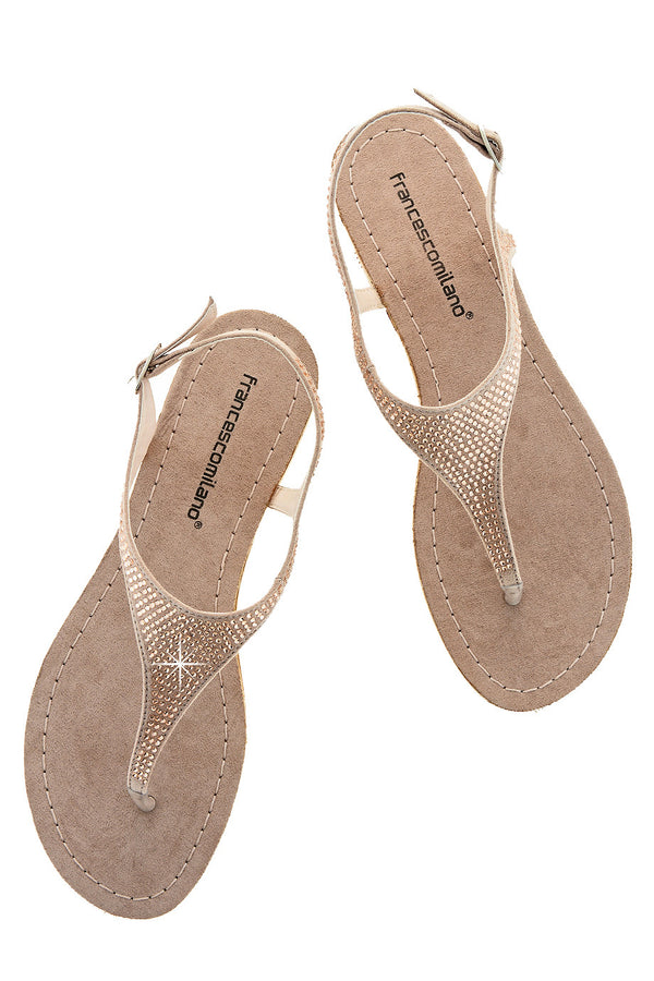 FRANCESCO MILANO ARETHA Beige Crystal Leather Women Sandals