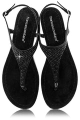 FRANCESCO MILANO ARETHA Black Crystal Leather Women Sandals