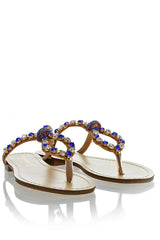 FRANCESCO MILANO ZANIA Indigo Crystal Embellished Sandals