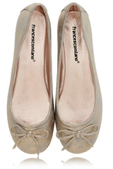 FRANCESCO MILANO SABINE Gold Crackled Ballerinas