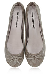 FRANCESCO MILANO SABINE Silver Crackled Ballerinas