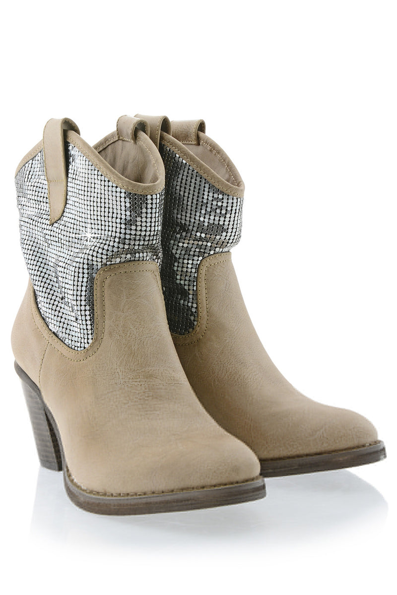 FRANCESCO MILANO TEXANO Beige Heeled Ankle Boots